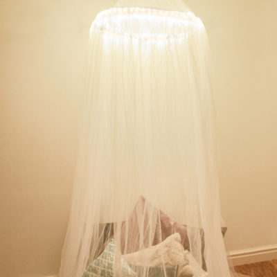 Rope light bedroom canopy