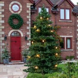 festoons on large Christmas tree
